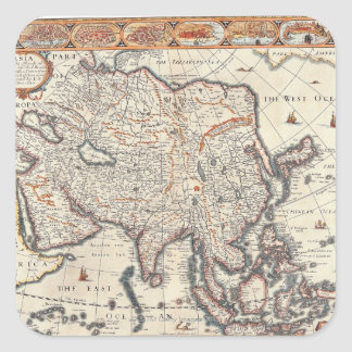 Map of Asia 3 Square Sticker