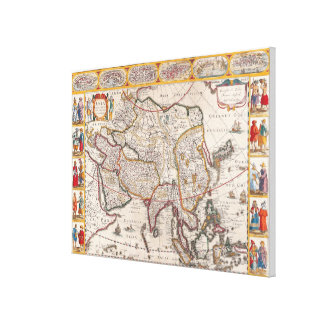 Map of Asia 4 Canvas Print