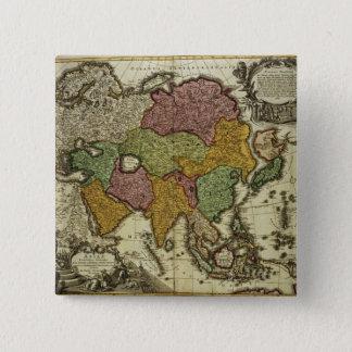 Map of Asia, Nuremberg, c.1730 15 Cm Square Badge