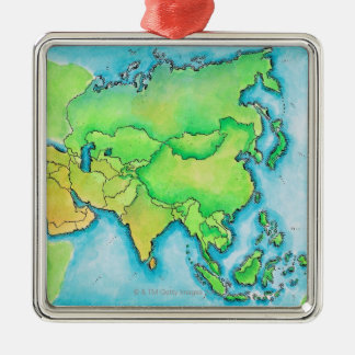 Map of Asia Silver-Colored Square Decoration