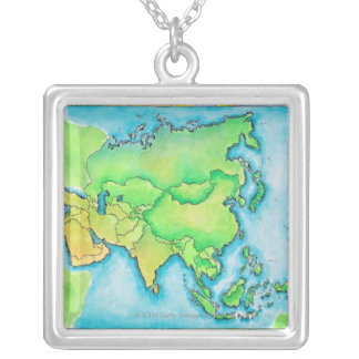 Map of Asia Silver Plated Necklace