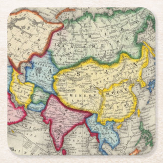 Map Of Asia Square Paper Coaster