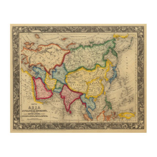 Map Of Asia Wood Print
