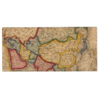 Map Of Asia Wood USB Flash Drive
