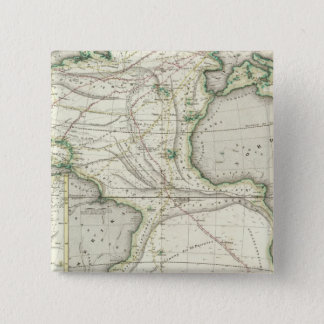 Map of Atlantic Ocean 15 Cm Square Badge