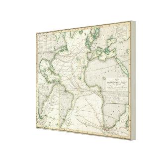 Map of Atlantic Ocean Canvas Print