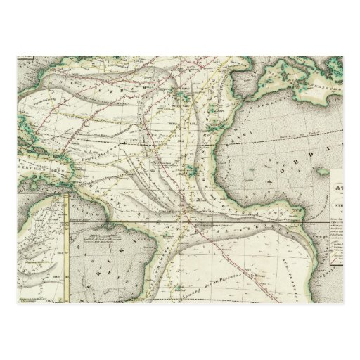 Map of Atlantic Ocean Post Cards