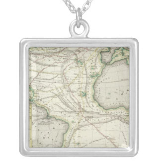 Map of Atlantic Ocean Silver Plated Necklace