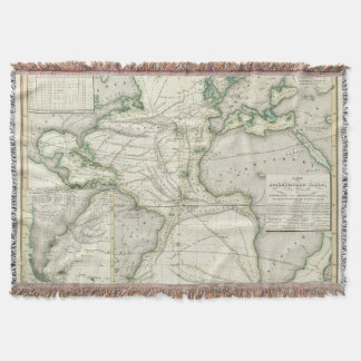 Map of Atlantic Ocean Throw Blanket