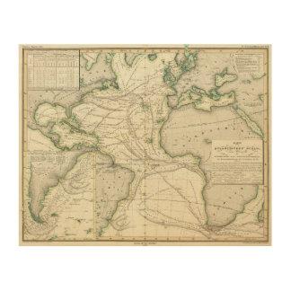 Map of Atlantic Ocean Wood Print