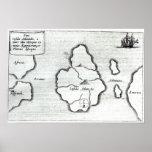 Map of Atlantis, from 'Mundus Subterraneus' Poster