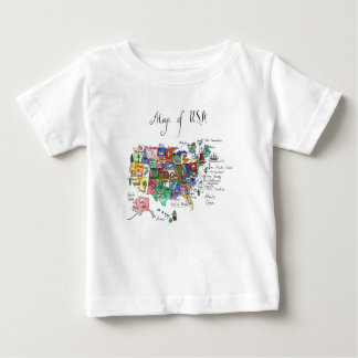 Map of Attractions of United States of America Baby T-Shirt