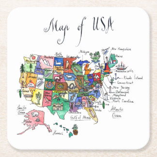 Map of Attractions of United States of America Square Paper Coaster