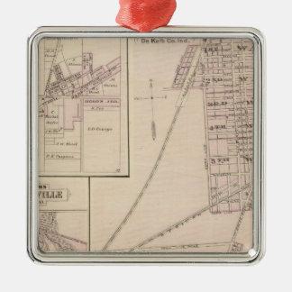 Map of Auburn, De Kalb Co Square Metal Christmas Ornament