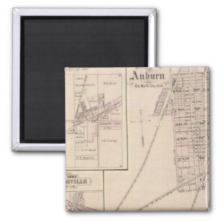 Map of Auburn, De Kalb Co Square Magnet