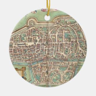 Map of Augsburg, from 'Civitates Orbis Terrarum' b Christmas Ornament