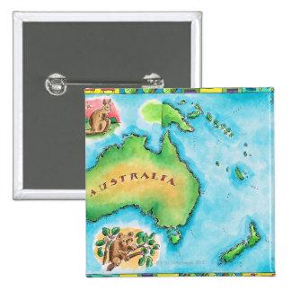 Map of Australia 15 Cm Square Badge
