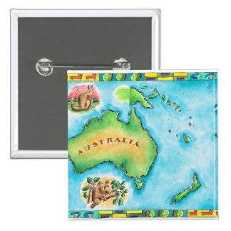 Map of Australia 2 15 Cm Square Badge