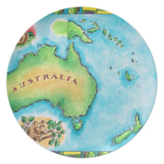 Map of Australia 2 Party Plates