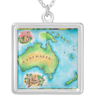 Map of Australia Silver Plated Necklace