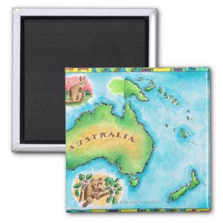 Map of Australia Square Magnet