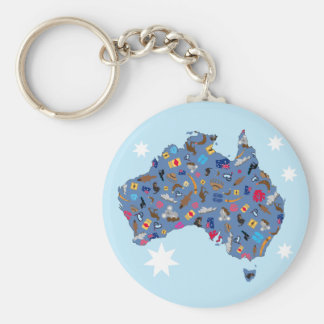 Map of Australia with cultural items Key Ring