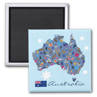 Map of Australia with cultural items Magnet