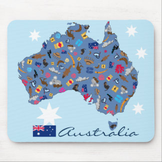 Map of Australia with cultural items Mouse Pad