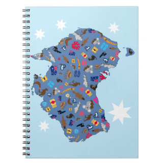 Map of Australia with cultural items Spiral Notebook