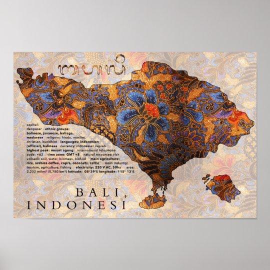 Map Of Bali Traditional Batik Poster