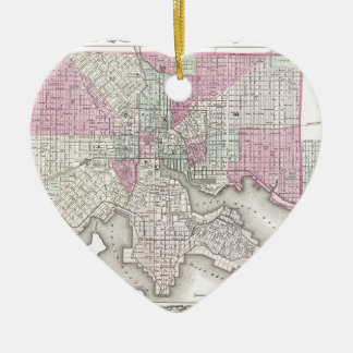 Map of Baltimore Maryland Ceramic Heart Decoration