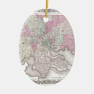 Map of Baltimore Maryland Ceramic Oval Decoration
