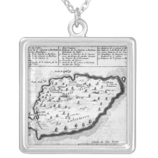 Map of Barbados Silver Plated Necklace
