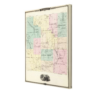 Map of Barron County, State of Wisconsin Canvas Print