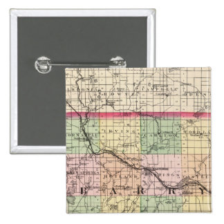 Map of Barry County, Michigan 15 Cm Square Badge