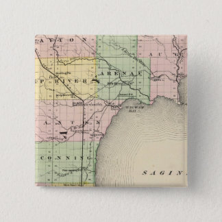 Map of Bay County, Michigan 15 Cm Square Badge