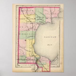 Map of Bay County, Michigan Poster