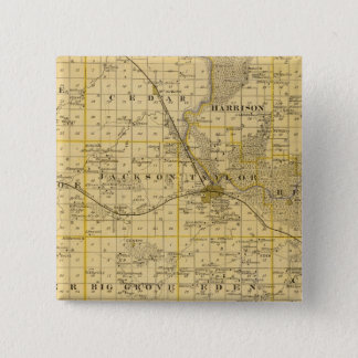Map of Benton County, State of Iowa 15 Cm Square Badge