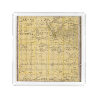 Map of Benton County, State of Iowa Acrylic Tray