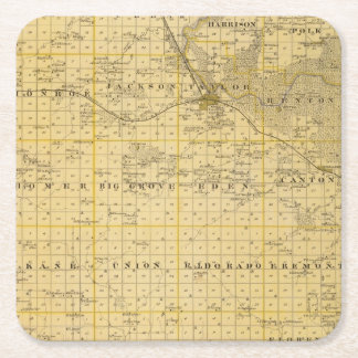 Map of Benton County, State of Iowa Square Paper Coaster