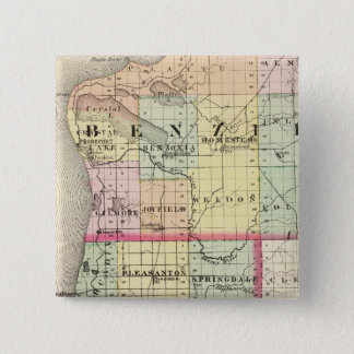 Map of Benzie and Manistee counties, Michigan 15 Cm Square Badge
