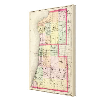 Map of Benzie and Manistee counties, Michigan Canvas Print