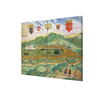 Map of Bergen, from 'Civitates Orbis Terrarum' by Canvas Print