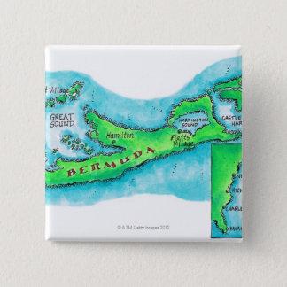 Map of Bermuda 15 Cm Square Badge