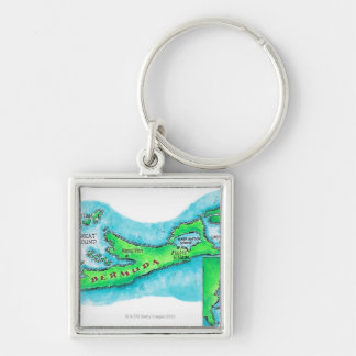 Map of Bermuda Key Ring