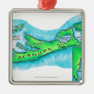 Map of Bermuda Silver-Colored Square Decoration