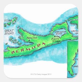 Map of Bermuda Square Sticker