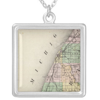 Map of Berrien County, Michigan Silver Plated Necklace