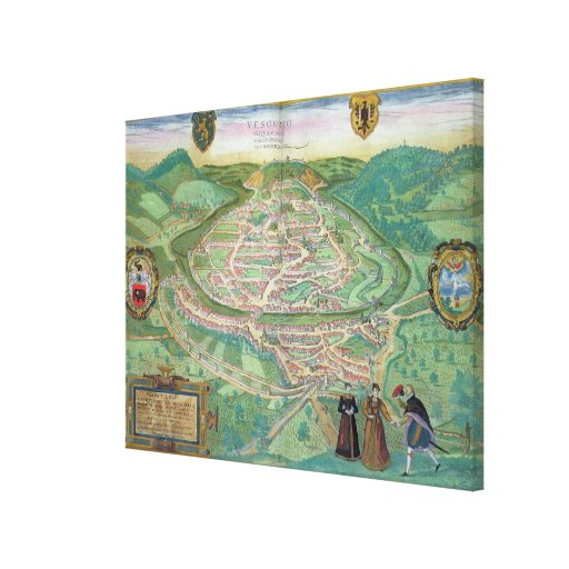 Map of Besancon, from 'Civitates Orbis Terrarum' b Gallery Wrapped Canvas
