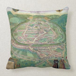 Map of Besancon from Civitates Orbis Terrarum b Pillows